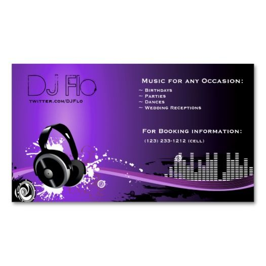 Purple Dj Headset Business Cards Eatlovepray Dj Business Cards Visiting Card Design Business Card Template