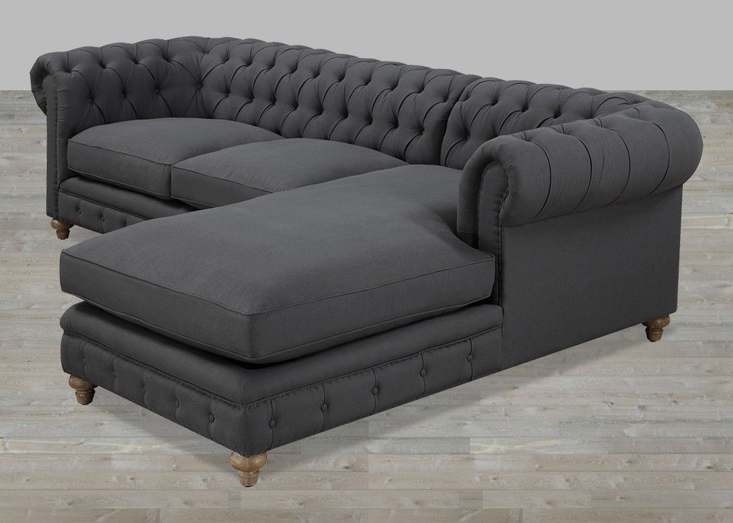 Grey Linen Chaise Sectional Button Tufted With Nailheads Tufted