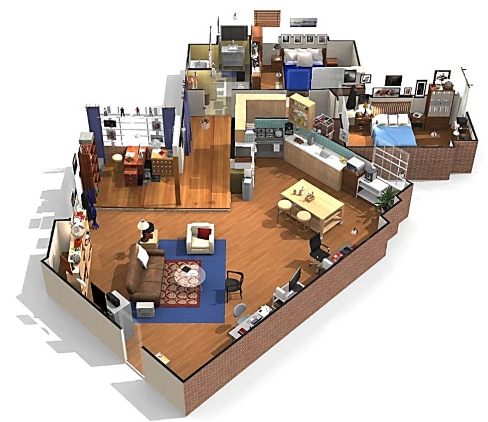 The big bang theory apartment in 3d sheldon and leonard 39 s for 3d appartement