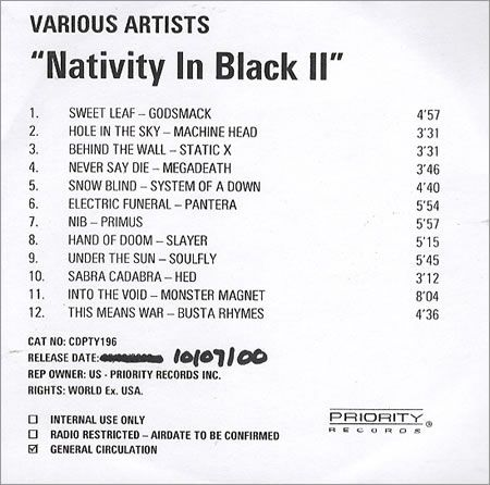 For Sale - Black Sabbath Nativity In Black II UK Promo  CD-R acetate - See this and 250,000 other rare & vintage vinyl records, singles, LPs & CDs at http://991.com