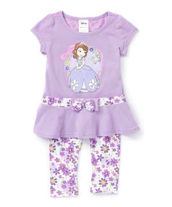 Look at this Purple Bow Sofia the First Dress & White Floral Leggings - Girls on #zulily today!