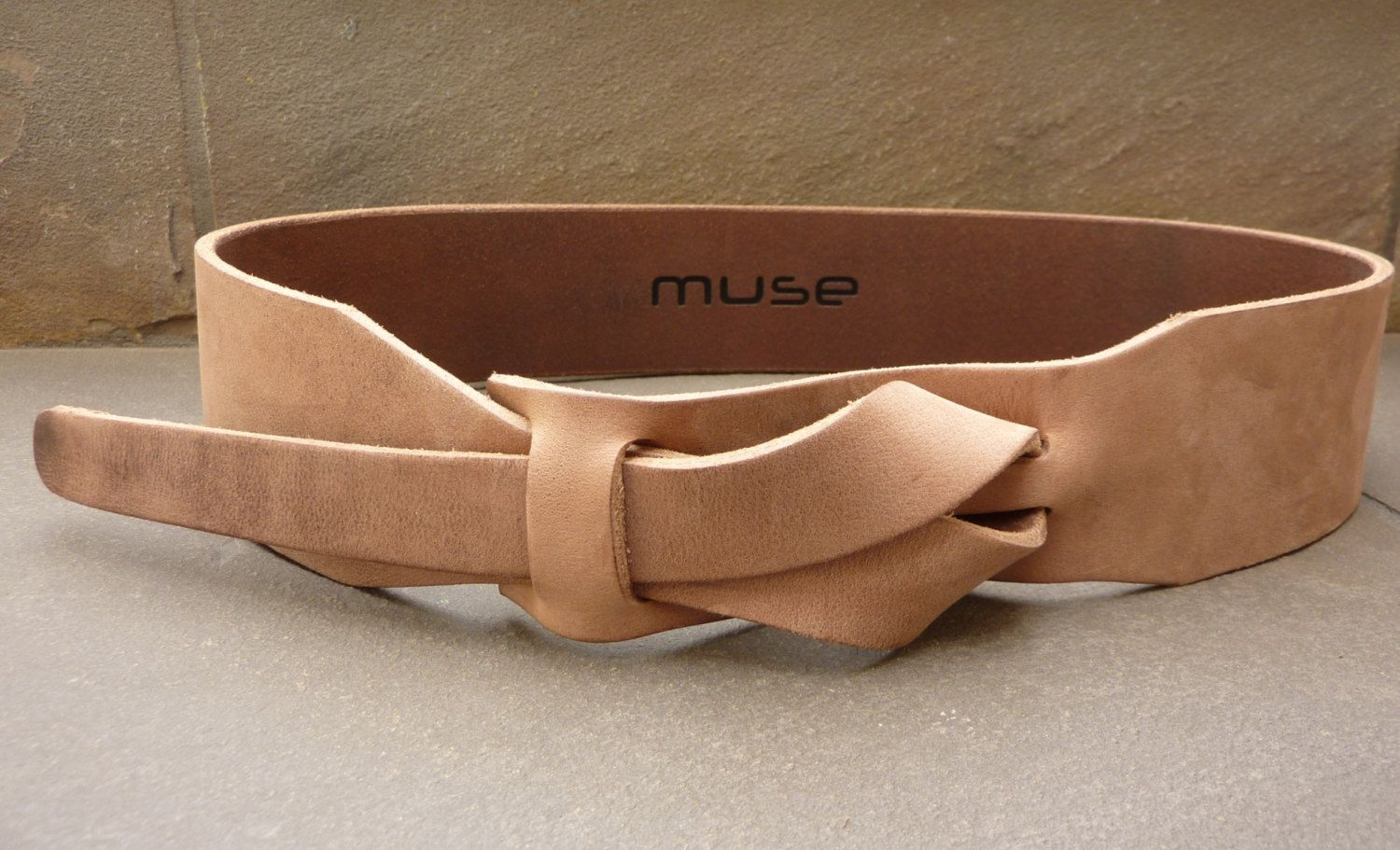 Leather Belt / Safari Outback Taupe 2 inch or 5 cm by Muse Nickel…