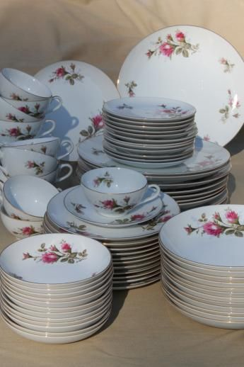 Vintage china dinnerware sets above told