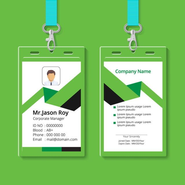 green color and creative style id card design template in