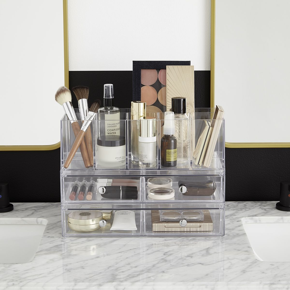 Stacking makeup organizers are the perfect way to save space
