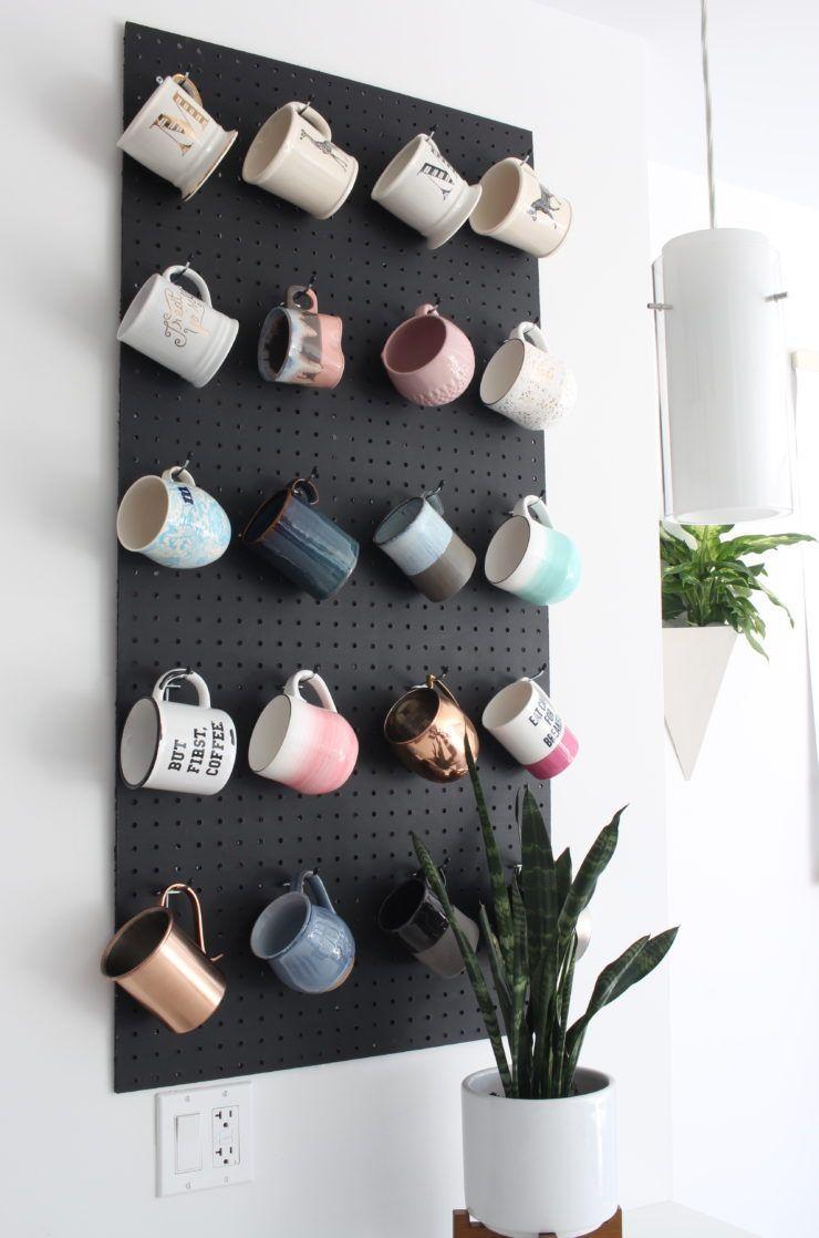 DIY Pegboard Mug Storage - Design Evolving