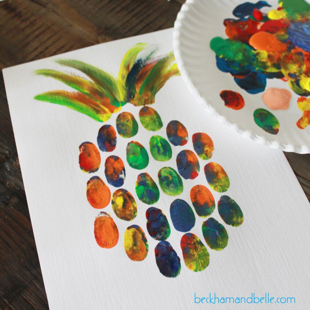 Diy pineapple thumbprint art pinterest art kids craft for Diy art projects for kids
