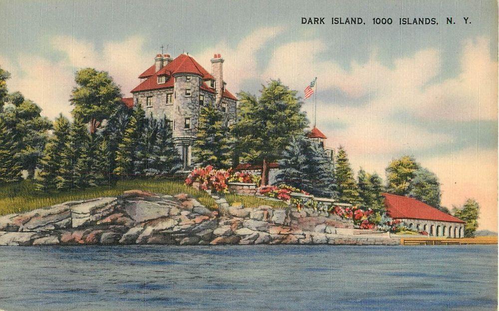 THOUSAND ISLANDS NEW YORK Dark Island 1942 Old Vintage Linen Postcard WWII Stamp