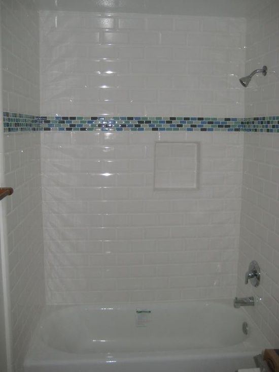 Beveled Subway Tile With Glass Mosaic Accent In My Photos