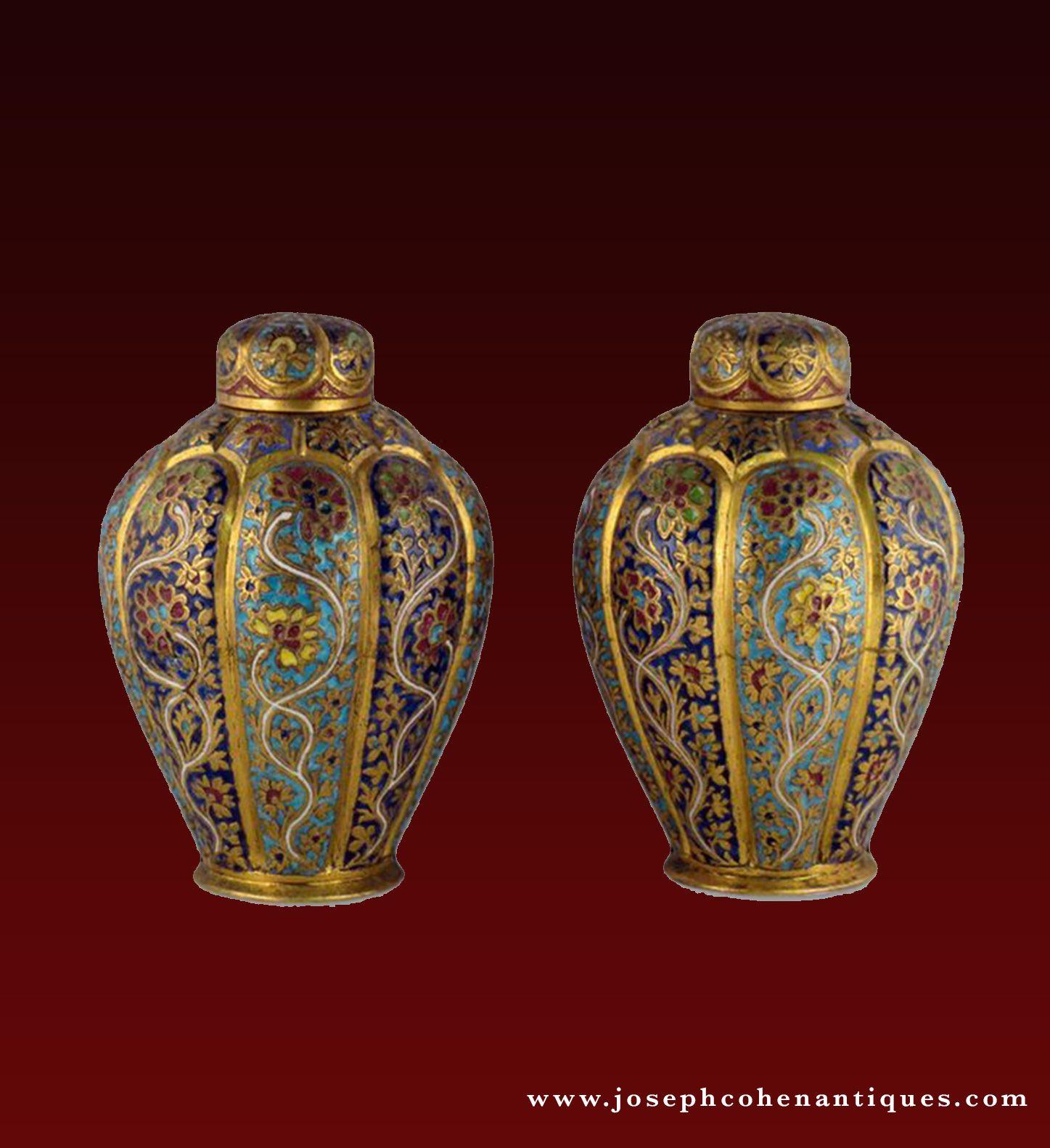 Pair of enamel brass vases kashmir india circa 1880 antique pair of enamel brass vases kashmir india circa 1880 reviewsmspy