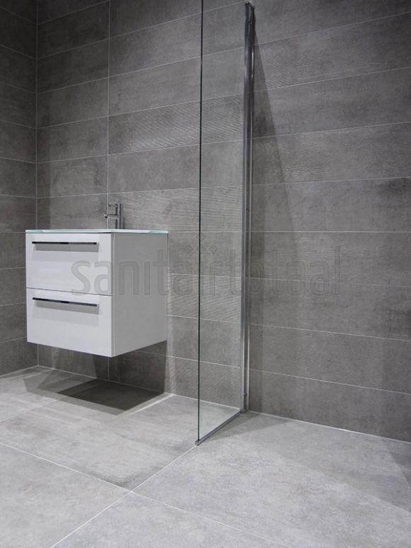 Betonlook badkamer, inloopdouche, badkamer tegels grijs ...