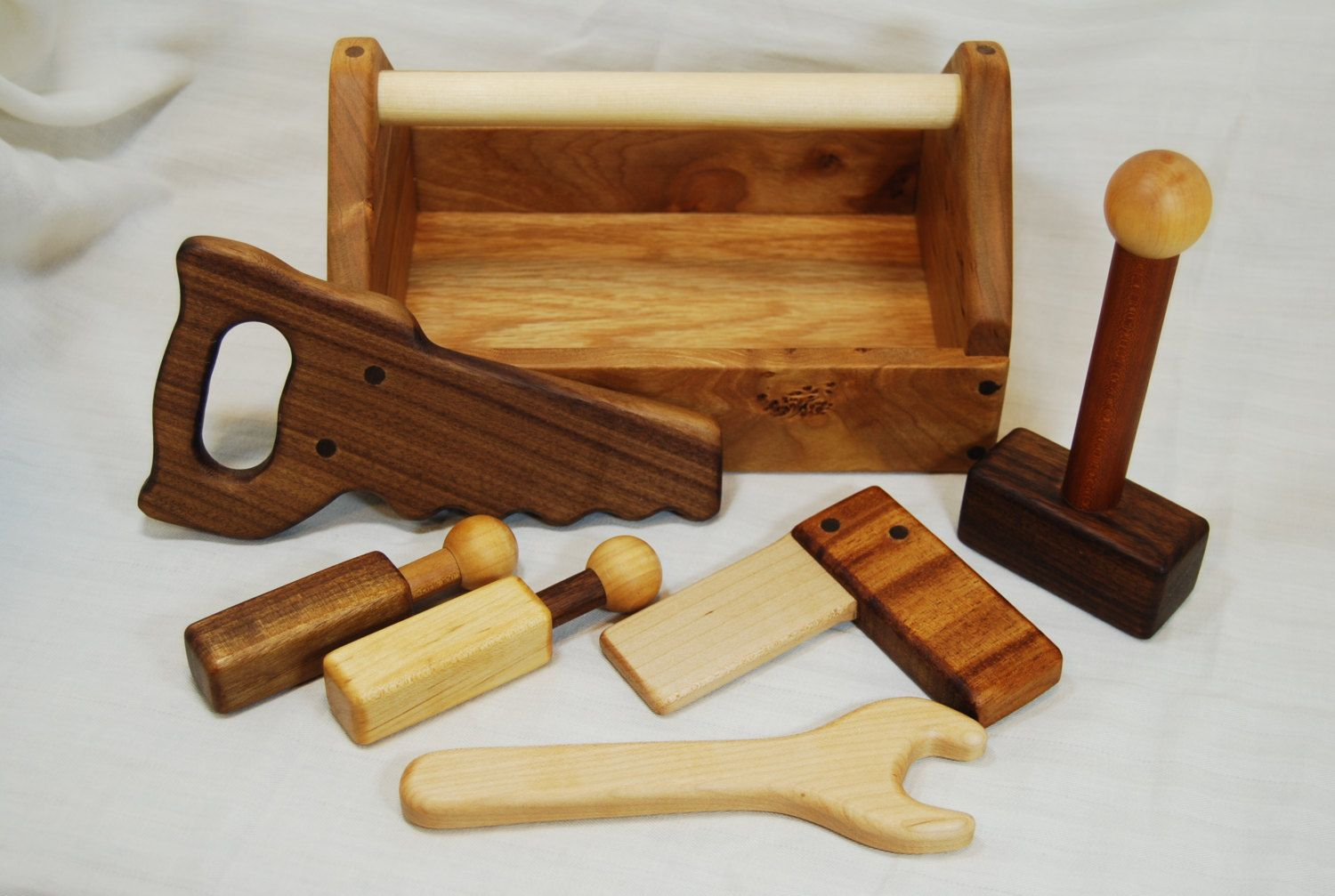 Heirloom Children's Wooden Toy Tool Set with Toolbox - all Hardwoods and Handmade by AHigherPlaneDesigns on Etsy