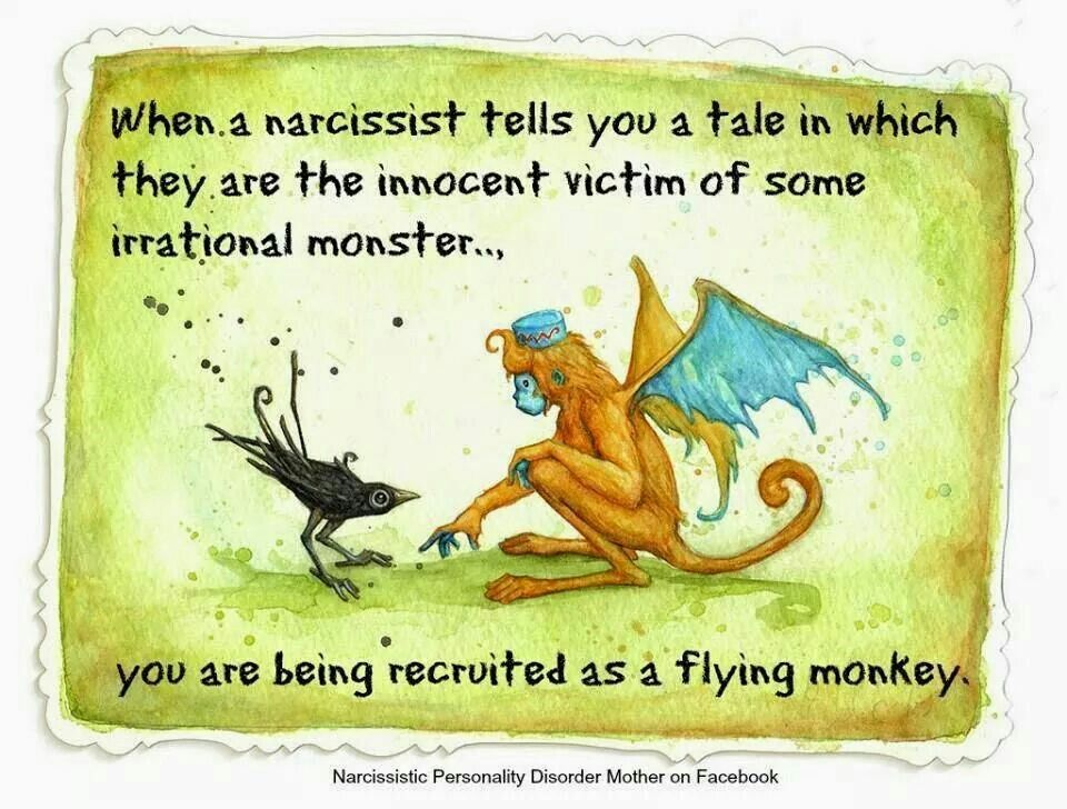 When a narcissist tells you a tale in which they are the innocent victim of some irrational monster,  you are being recruited as a flying monkey
