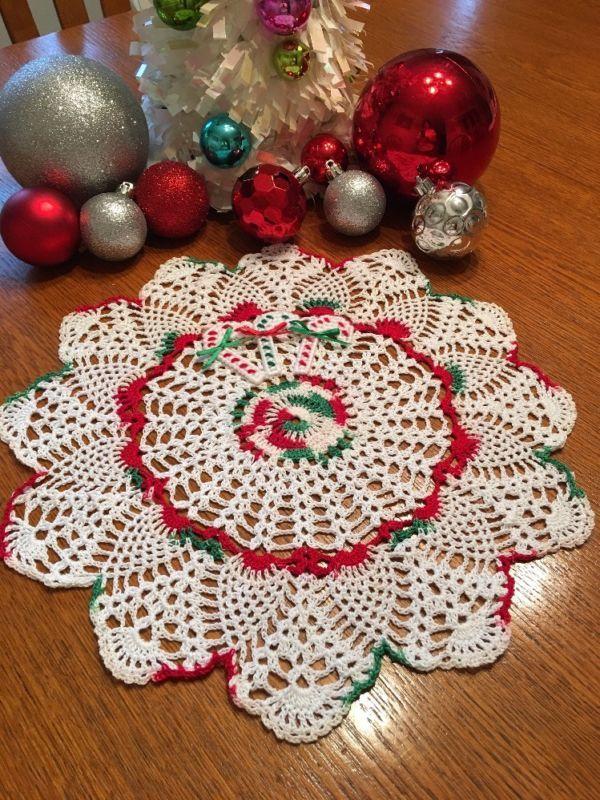 Servilleta De Navidad mano de ganchillo
