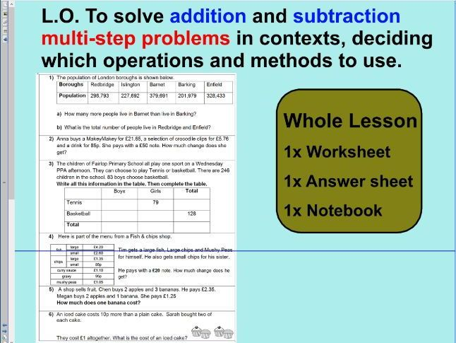 Addition and subtraction multi-step problems - ks2 year 5 & 6 ...