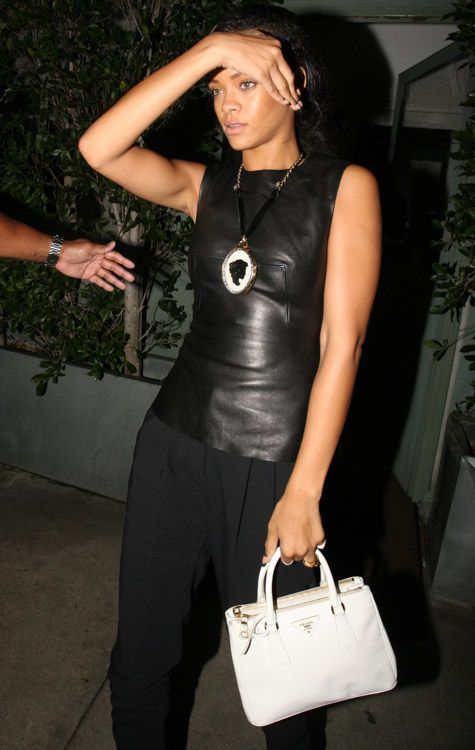 fd1be5f58777 Rihanna  Prada Mini Saffiano Lux tote Prada Bag