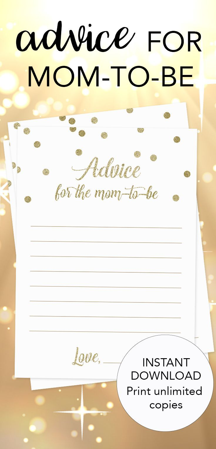 Printable Baby Shower Advice For New Moms