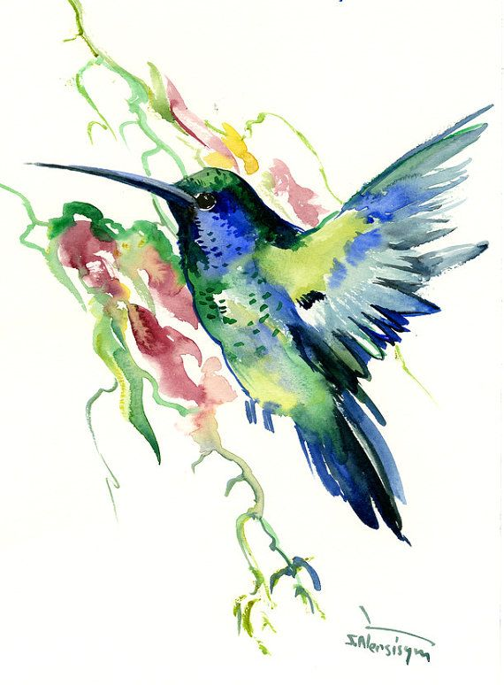 Deep Blue Emerland Green Hummingbird One Of A Kind Original