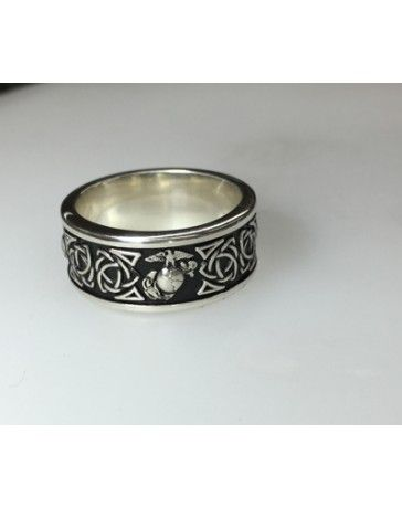 Beautiful Sterling Silver Marine Corps Wedding Rings Eagle Globe And Anchor With Celtic Weave Officially Licensed Roved By The Us