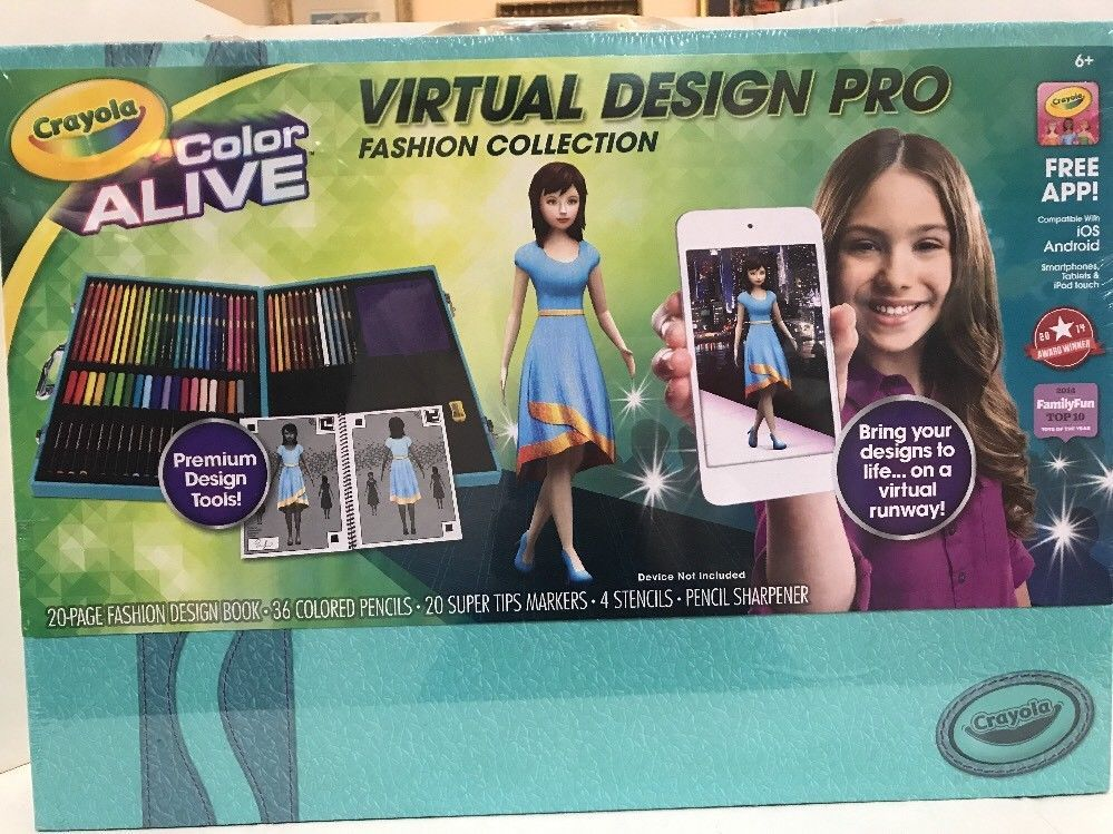 Crayola Color Alive Virtual Design Pro Fashion Collection W Case Free App New Ebay Virtual Design Book Cover Colorful Fashion
