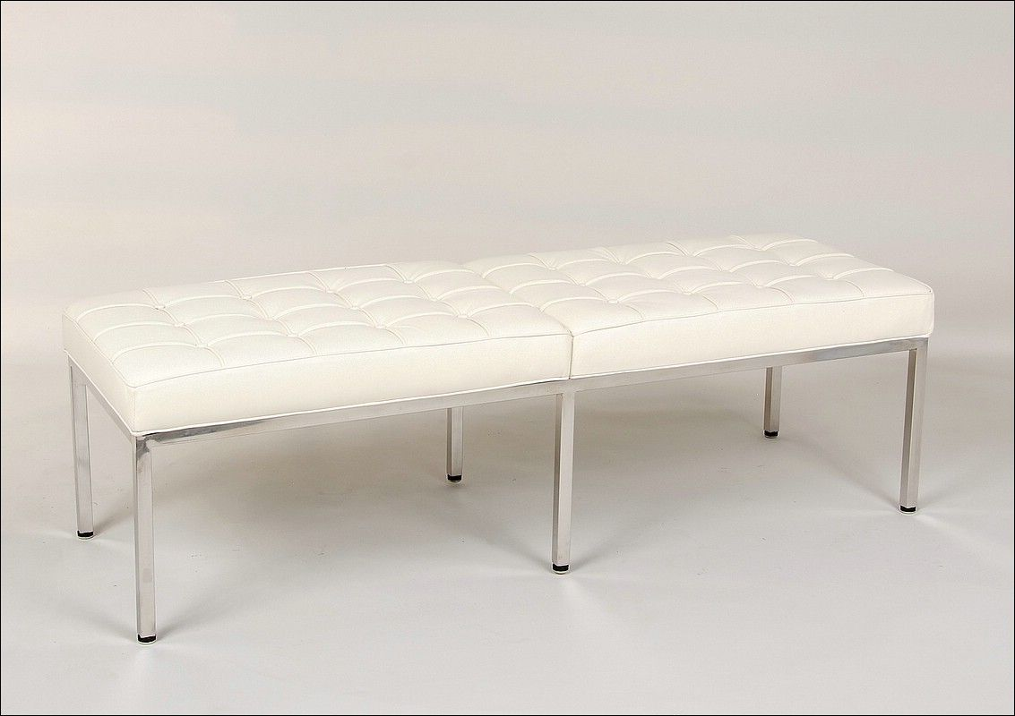 Florence Knoll 60 Inch Bench Replica Cream White Leather Florence Knoll Bench White Leather