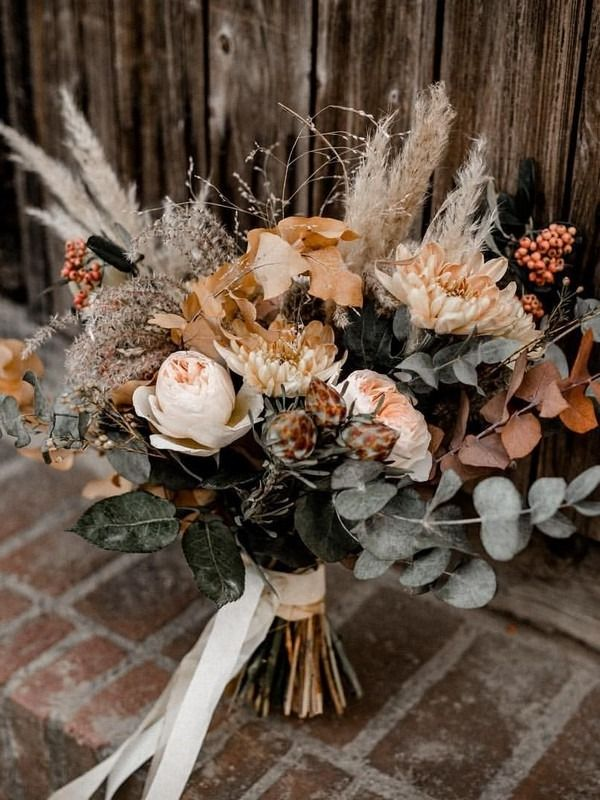20 Copper Burnt Orange Bohemian Wedding Bouquets - Oh The Wedding Day Is Coming