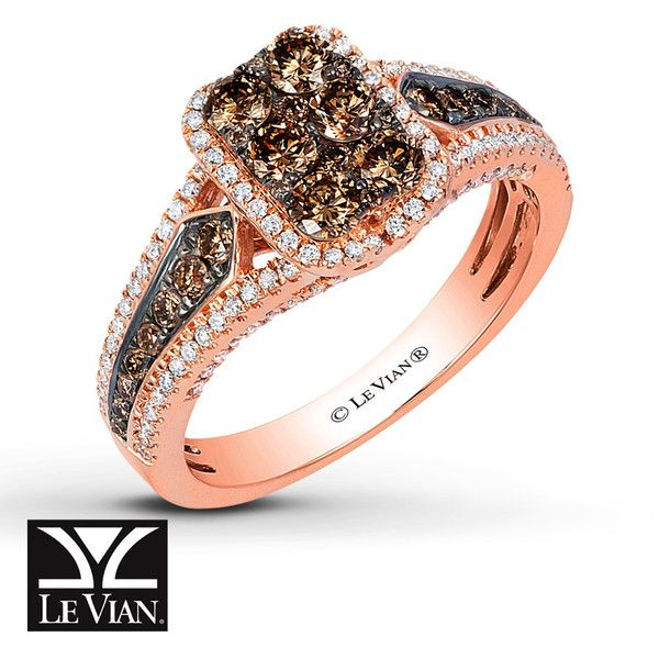 LeVian Chocolate Diamonds 1 ct tw Ring 14K Strawberry Gold (13,495 SAR) ❤ liked on Polyvore featuring jewelry, rings, gold jewelry, yellow gold band ring, gold jewellery, gold band ring and brown diamond ring