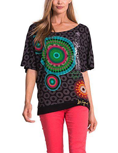 Desigual - Camiseta de manga corta para mujer de color negro con formas  circulares #regalo