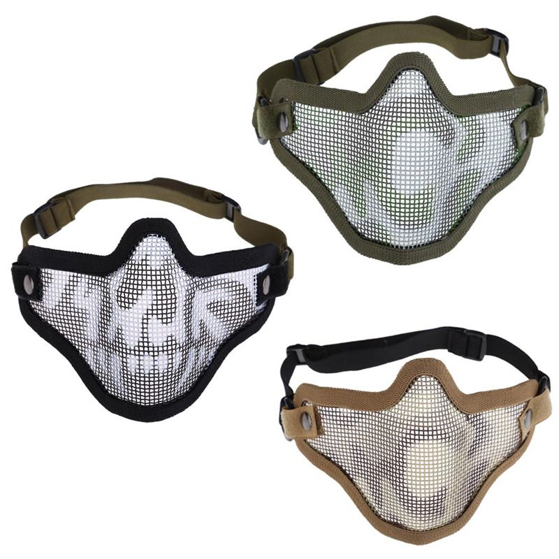 Woodland Camo Pattern V1 Half Face Protector Airsoft Wire Mesh Mask ...