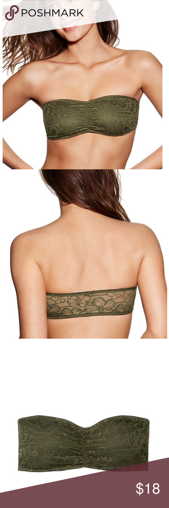 4b3753d67925c Victoria s Secret Olive Green M Lace Bandeau Bra New Victoria s Secret  Olive Green Tropical Lace Bandeau Bra Brand New With Tags !