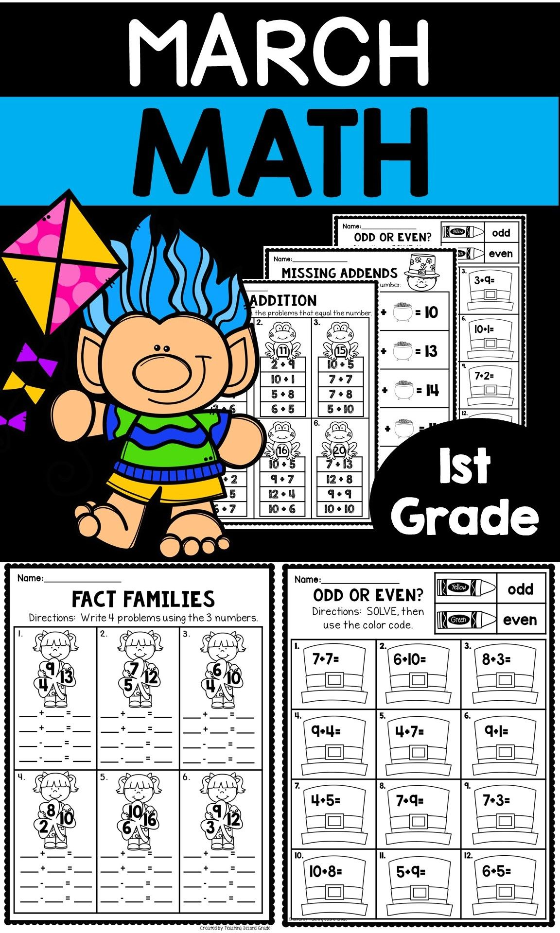 Math Worksheets First Grade March First Grade