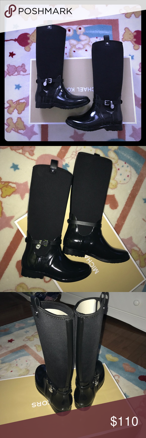 Michael Kors Charm Stretch Rainboots in Black 7 They're new with box in Black. Size 7 Michael Kors Shoes Winter & Rain Boots