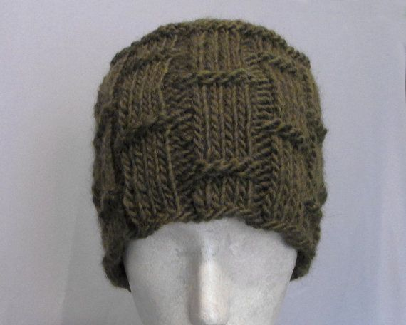 Hand Knit Dark Green Chunky Wool Bamboo Hat by LizArti on Etsy, $40.00