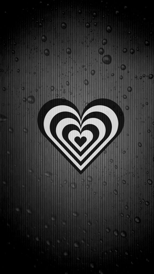 Black And White Heart Iphone 5 Wallpaper 640x1136 Black And White Heart Wallpaper Backgrounds Iphone Background
