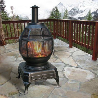 Deckmate Potbelly Outdoor Steel Cast Iron Wood Fireplace Outdoor Wood Burning Fireplace Outside Fireplace Outdoor
