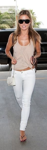 white skinnies and a beige tank, perfect casual look.