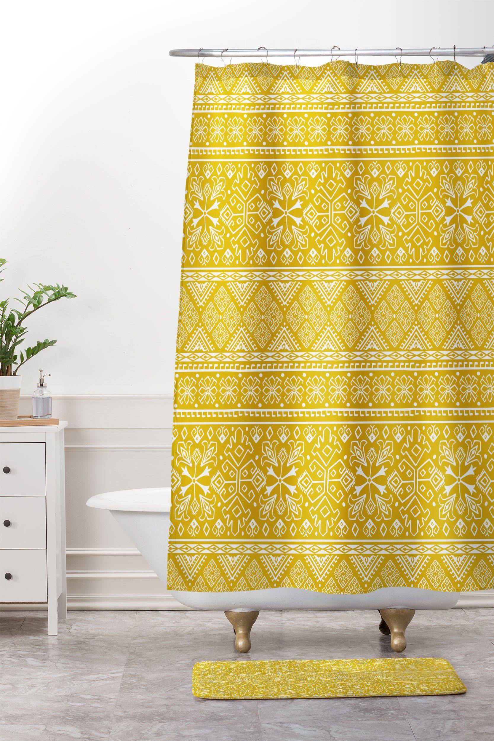 Heather Dutton Grand Bazaar Goldenrod Shower Curtain And Mat With