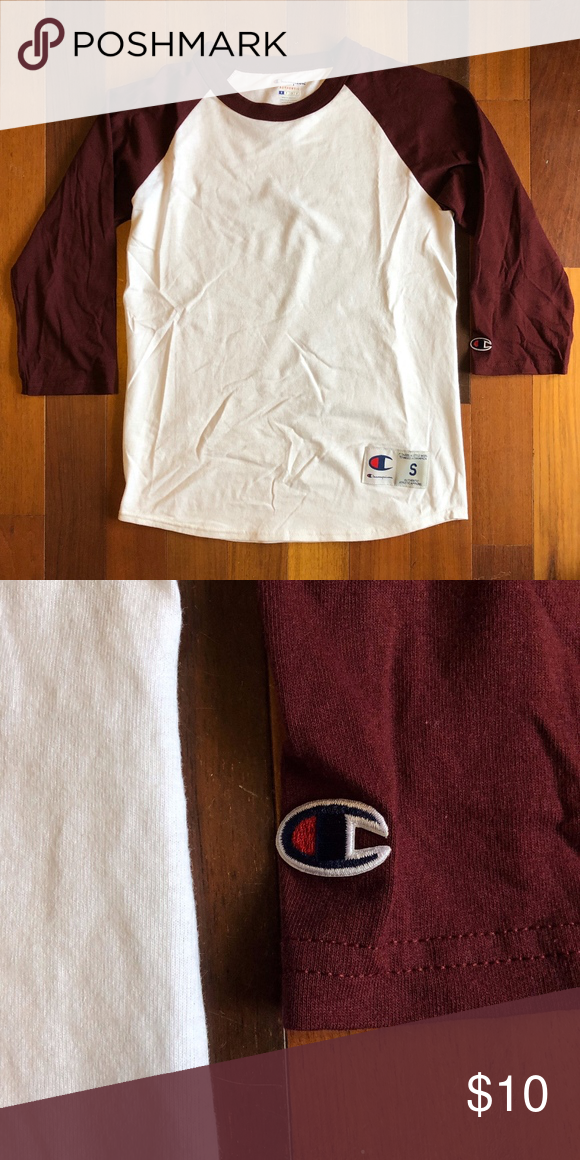 3c5893f7 Champion 3/4 Sleeve Baseball T-Shirt White Marroon New without tags and  never worn. Men's authentic Champion 3/4 length sleeve baseball tee in  white and ...