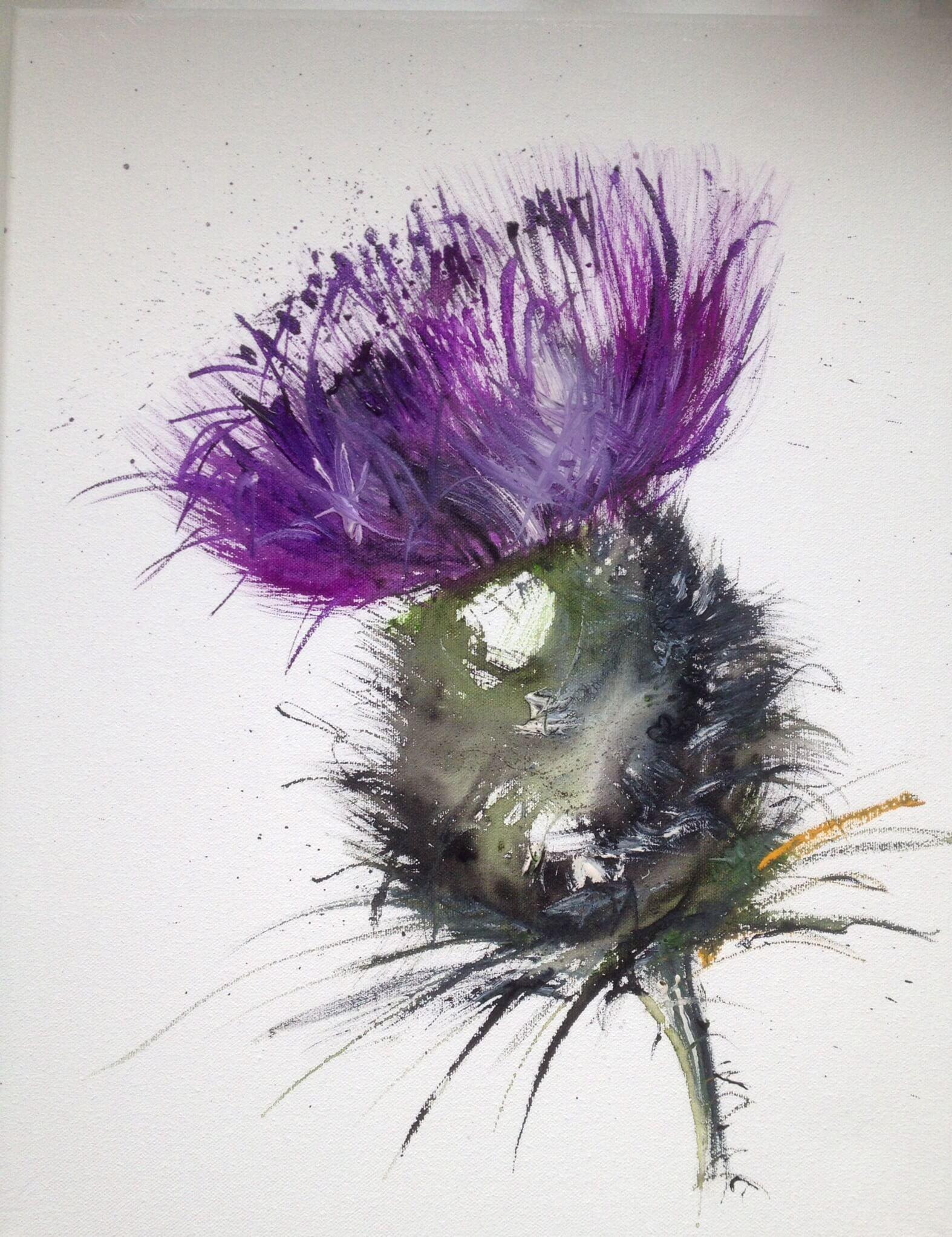 Scottish Thistle Flower Head Watercolour Scotland Canvas Art Print