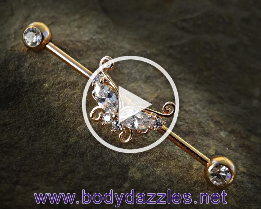 Rose Gold Butterfly with Opal Ends Industrial Barbell 14ga Surgical Steel Scaffold Bar Body Jewelry