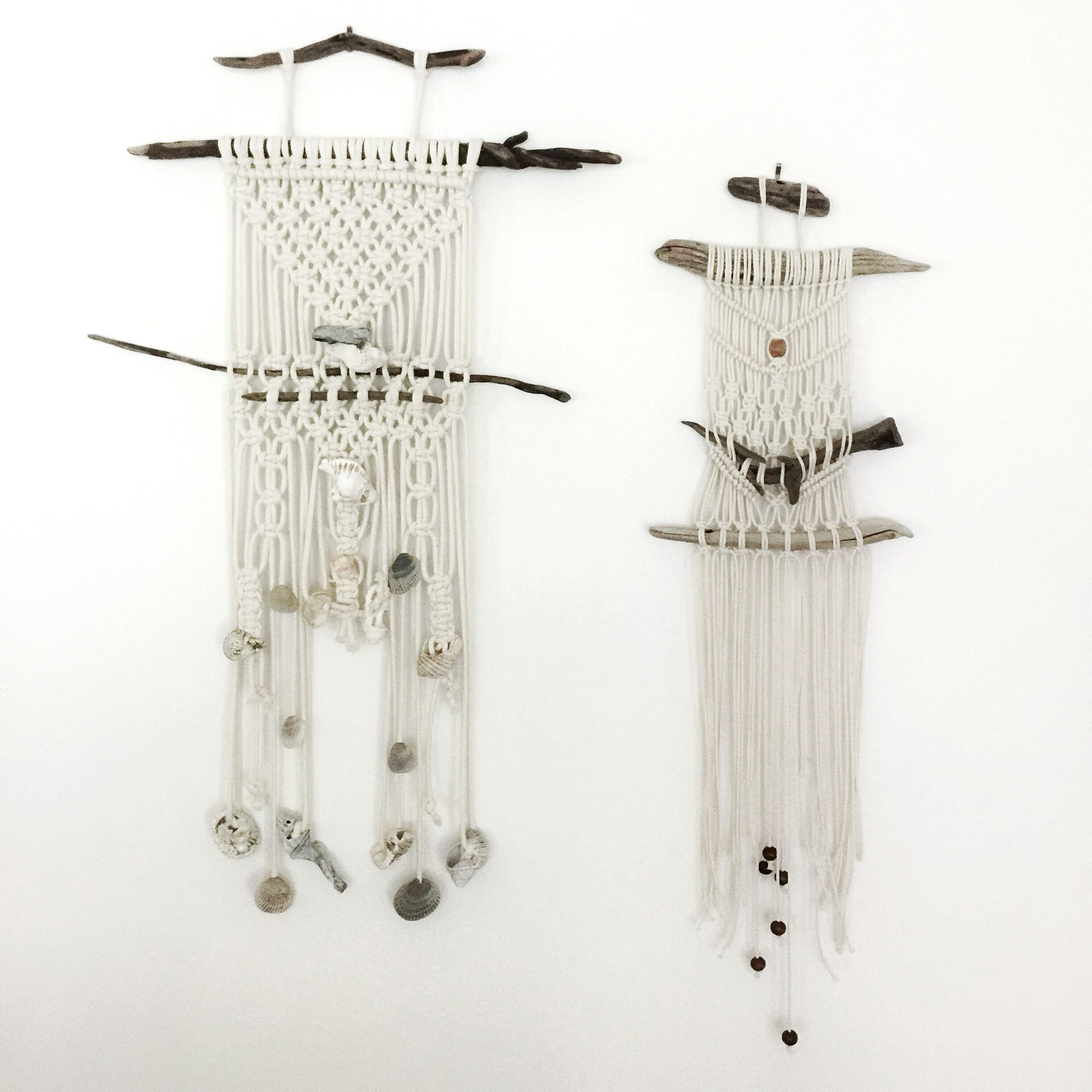 Macrame Wall Hanging Matching Pair With Shells And Driftwood