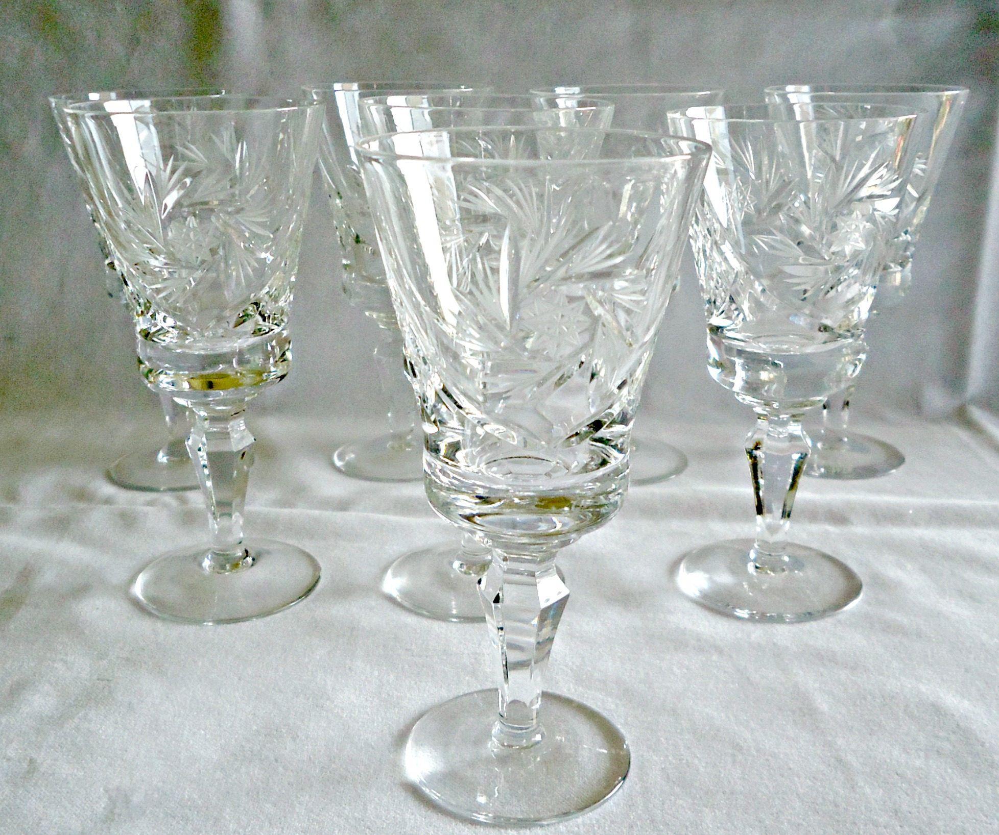 8 Pinwheel Crystal Wine Glasses Stems Goblets Vintage Crystal Wine Glasses Wine Glasses Pinwheels