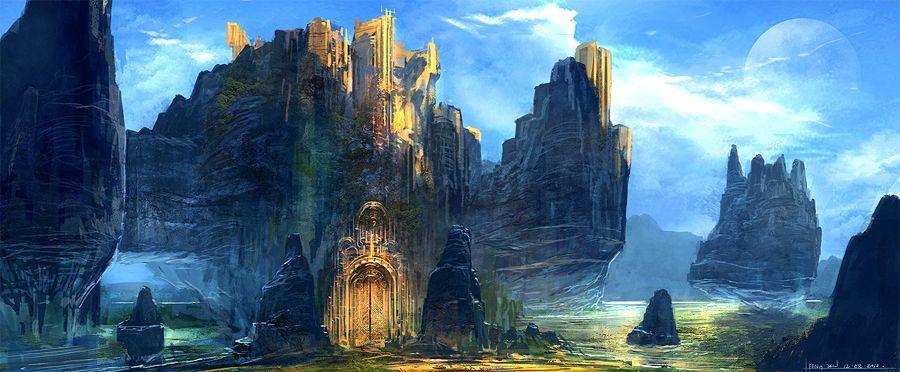Feng Zhu Fantasy Golden Gateway To A Golden Colony Atop Floating Rocks Fantasieschloss Kunst Ideen