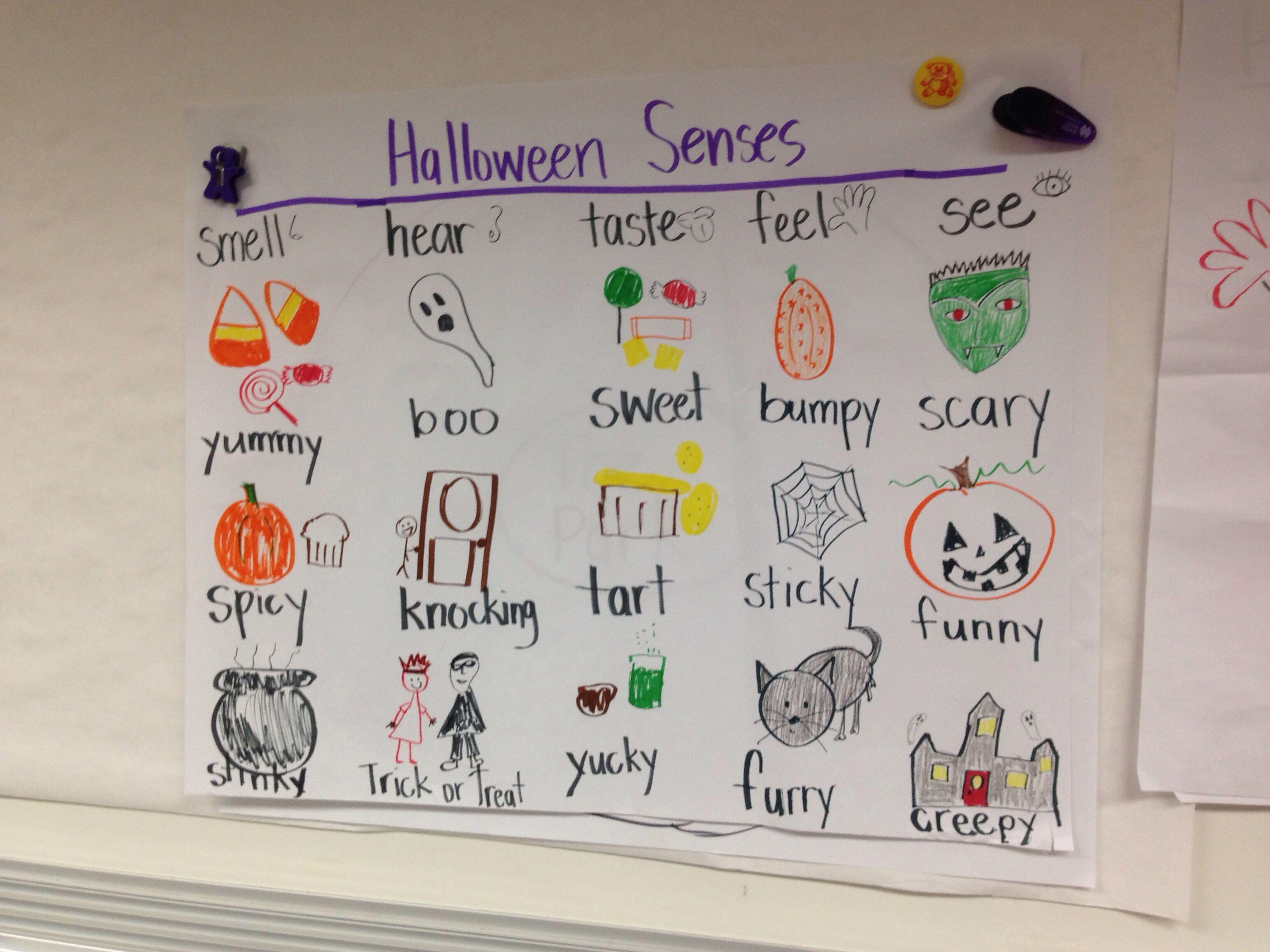 5 Senses Thinking Maps For Kindergarten Halloween