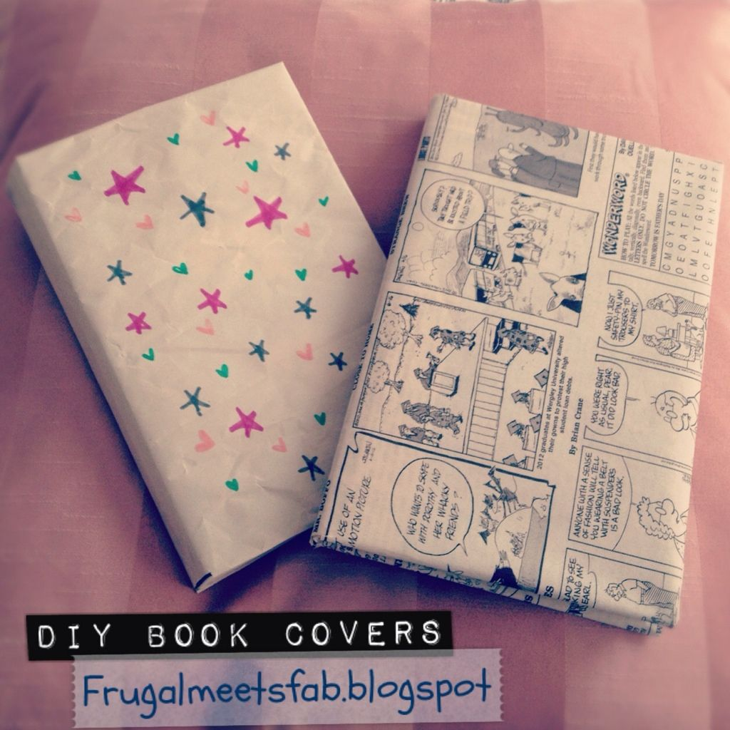 Diy School Book Cover ~ Diy book covers use the comic section of the newspaper to do this