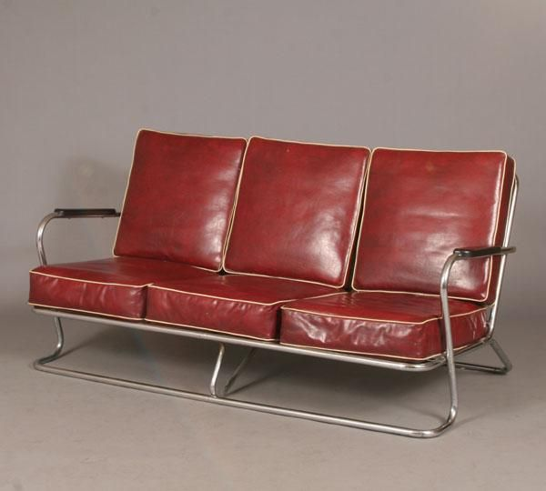 Delightful Kem Weber Tubular Chrome Sofa