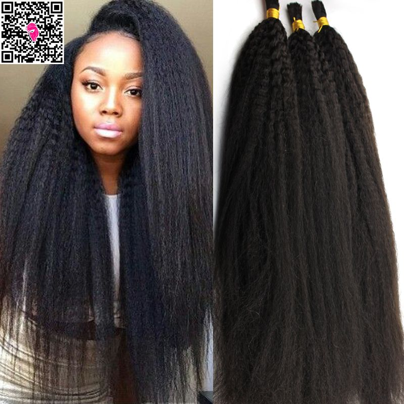 7a Remy Virgin Peruvian Afro Straight Human Braiding Hair Bulk No Weft Italian Co Yaki
