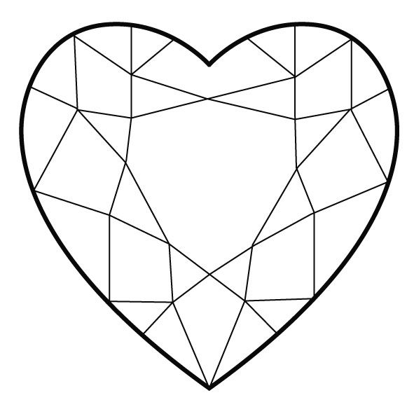 Heart Shaped Diamond Heart Coloring Pages Diamond Illustration