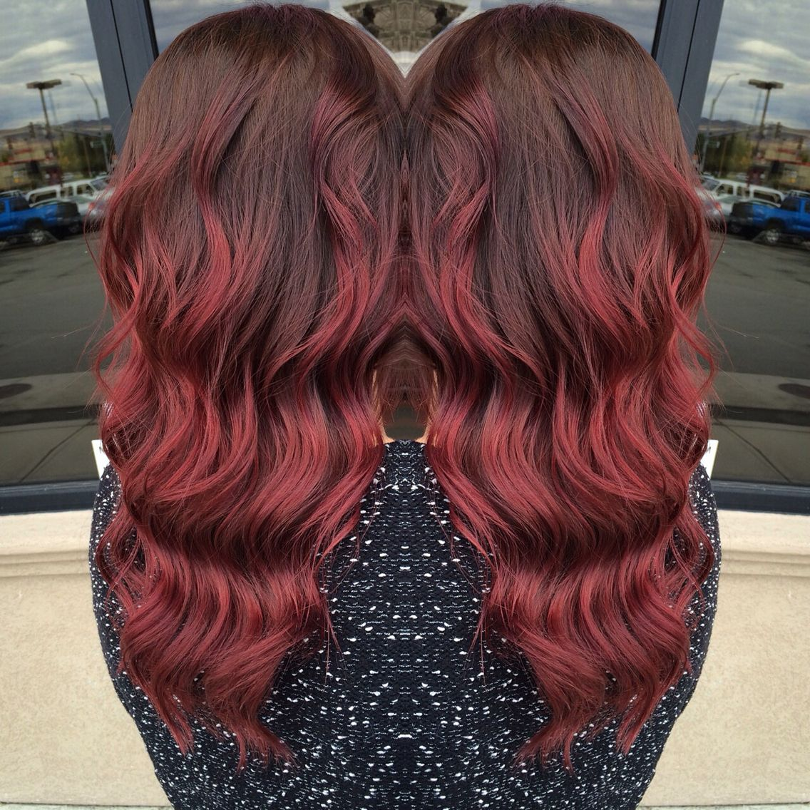 Dark Red With Deep Brown Roots Ombre Red Hair Dark Roots Red Brown Hair Color Shades Of Red Hair