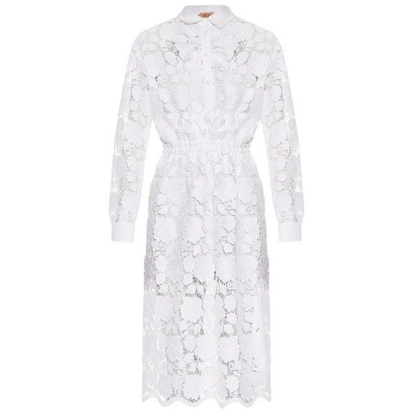 No. 21 Floral-lace shirtdress (£1,065) ❤ liked on Polyvore featuring dresses, white, pleated dress, lacy white dress, white lace dress, white lace slip and white slip